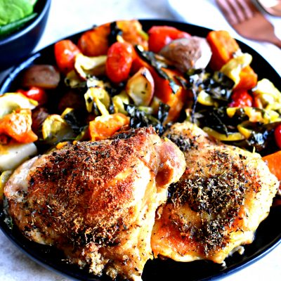 Crispy Chicken Thighs One-Pan Meal {Gluten-Free, Paleo, Whole30}
