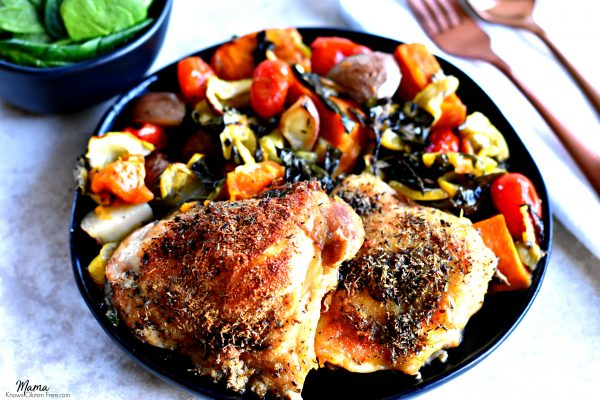 crispy chicken thighs and roasted vegetables