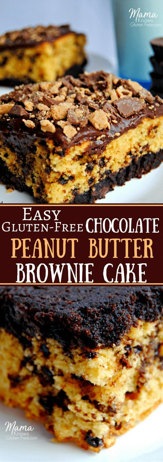 Easy Gluten Free Chocolate Peanut Butter Brownie Cake