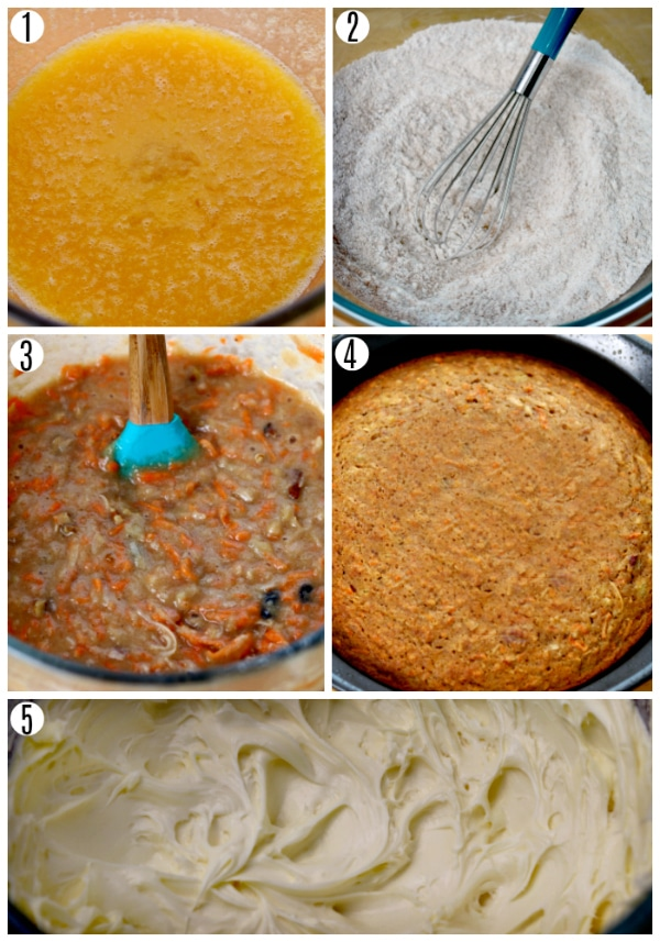 gluten-free carrot cake recipe steps 1-5 photo collage