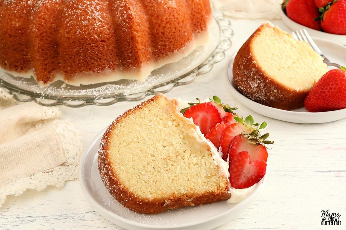 gluten-free pound cake with strawberries