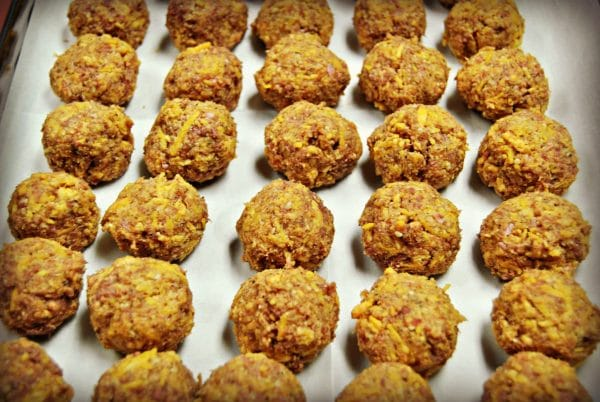 gluten-free- sausage balls on a baking pan