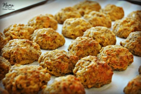 baked gluten-free sausage balls on a pan