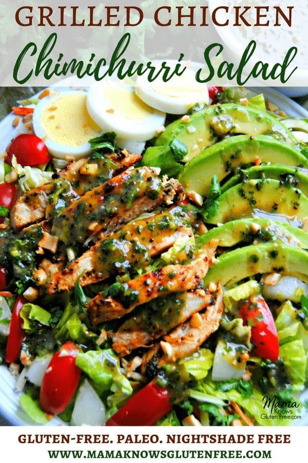Grilled Chicken Chimichurri Salad Pinterest pin 2