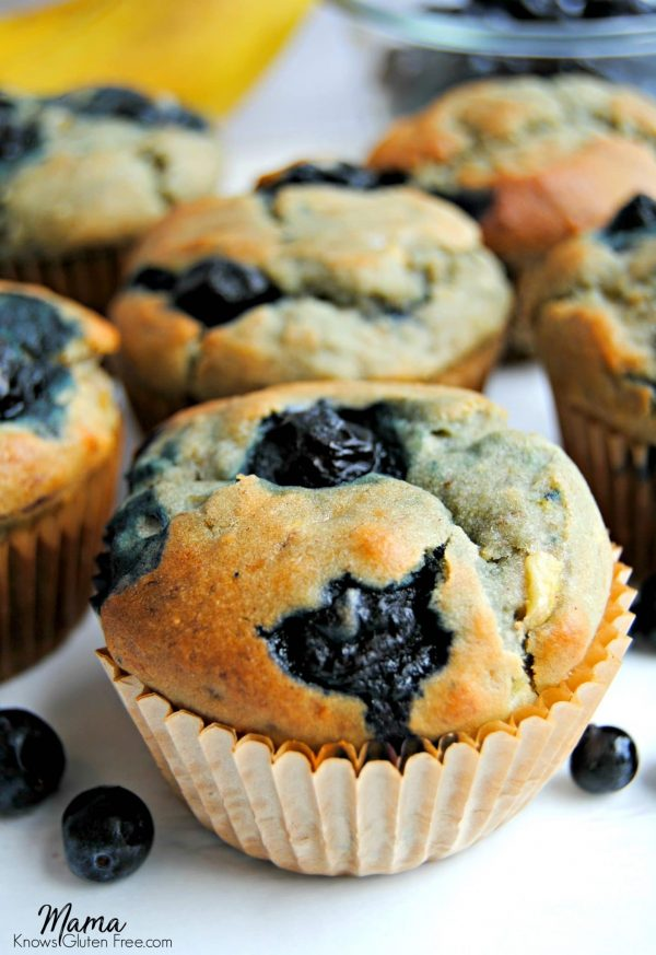 Easy Gluten-Free Blueberry Banana Muffins {Dairy-Free and Refined Sugar Free Option}