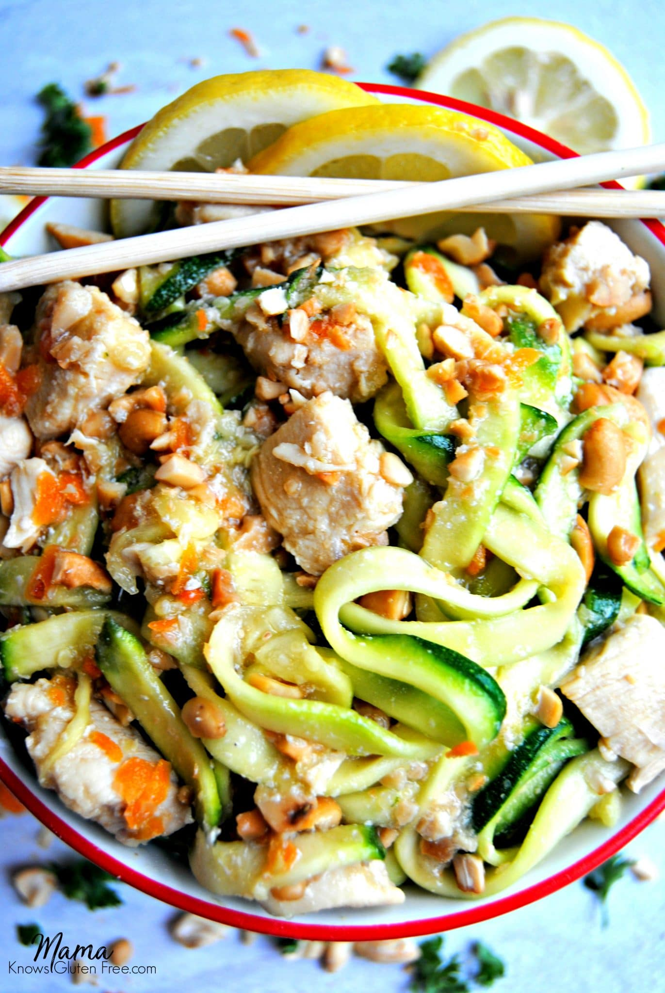 honey lemon ginger chicken zoodle bowl