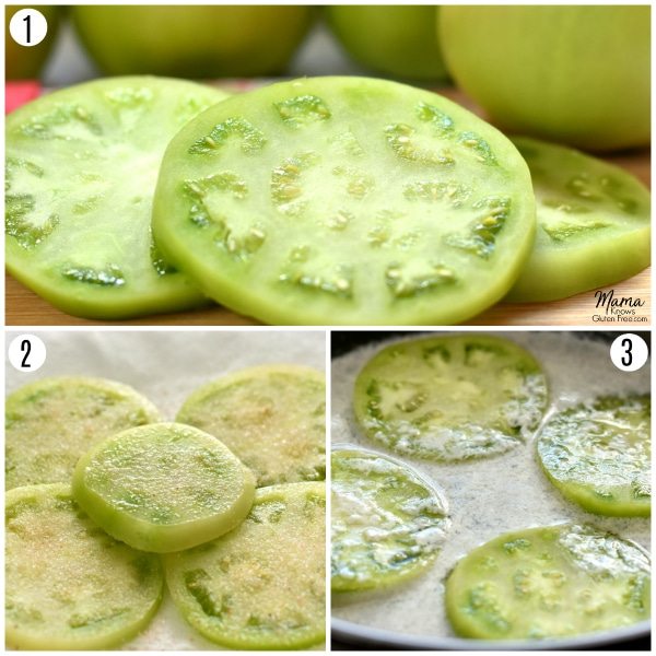 gluten-free fried green tomatoes recipe steps 1-3 photo collage