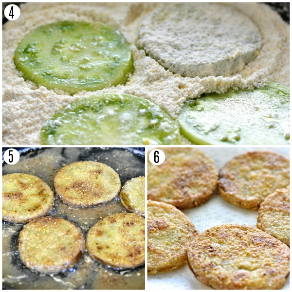 gluten-free fried green tomatoes recipe steps 4-6 photo collage
