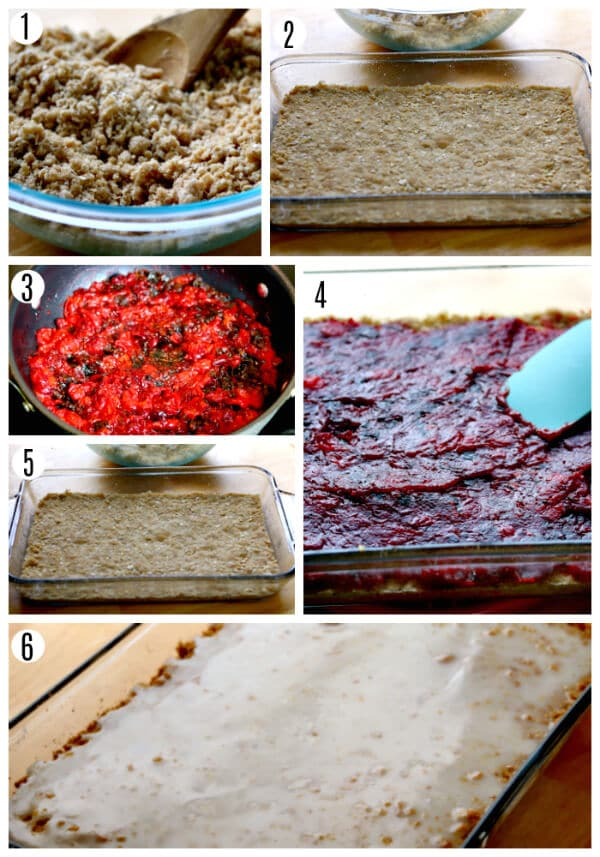 gluten-free cranberry bars recipe steps 1-6
