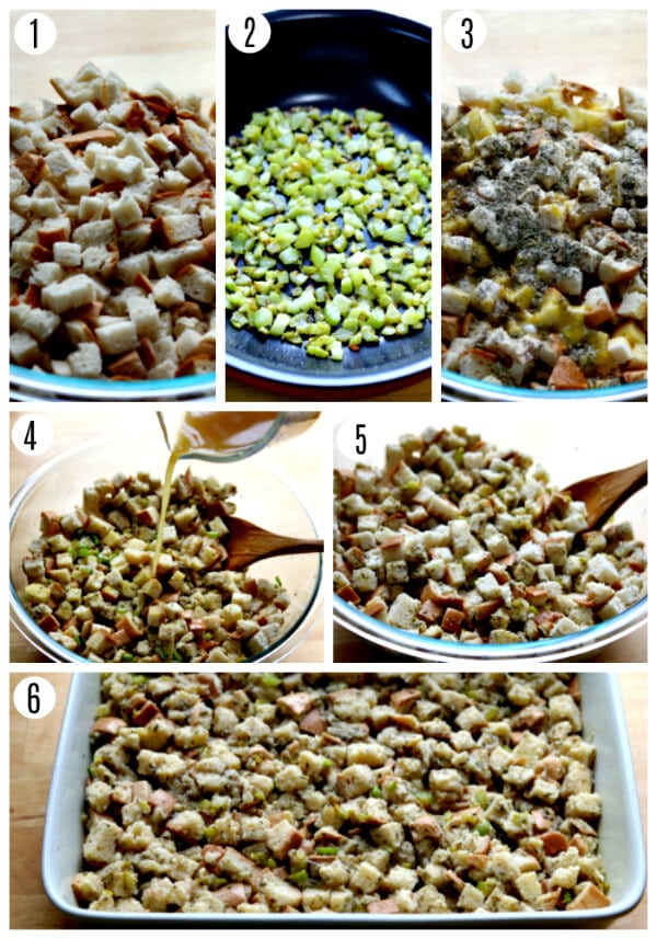 gluten-free stuffing recipe steps photo collage 1-6