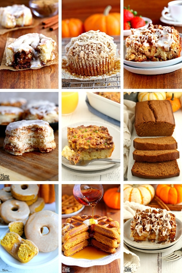 collage of gluten-free breakfast recipes for Thanksgiving