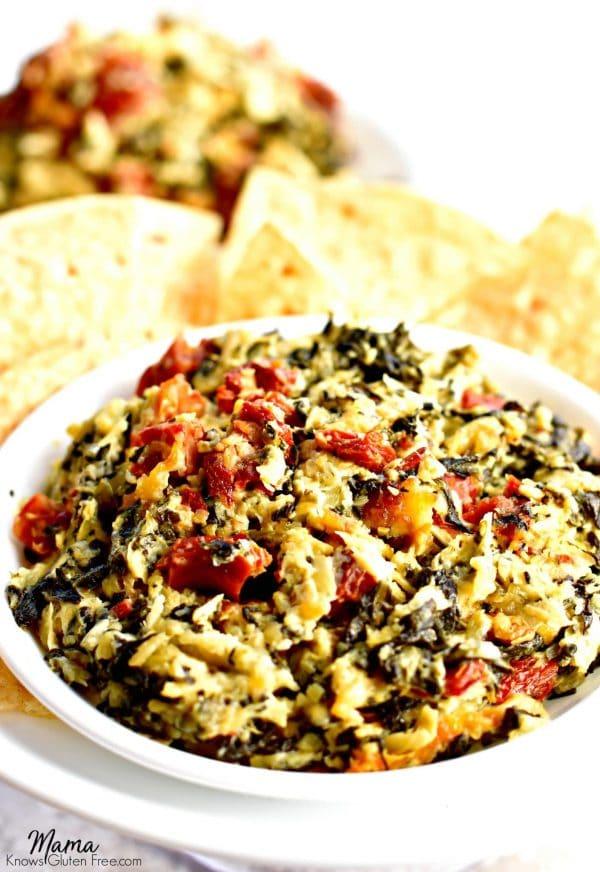 Hot Spinach, Artichoke and Sun-Dried Tomato Dip {Gluten-Free}