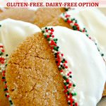 Gluten Free White Chocolate Dipped Gingerbread Cookies