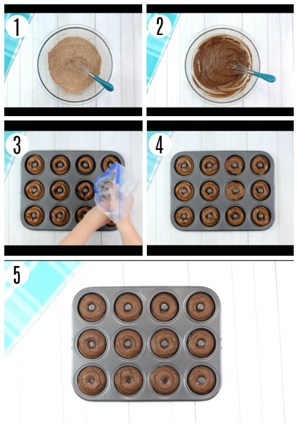 gluten-free chocolate donuts recipe steps 1-5 photo collage