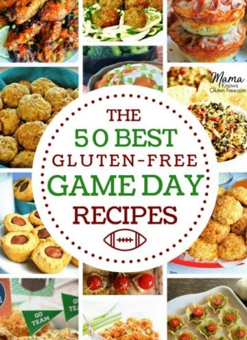 collage of 12 gluten-free appetizers with a white circle in the center with the best 50 gluten-free game day recipes on it