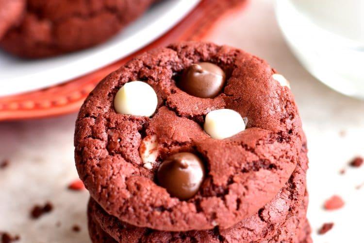 Gluten-Free Red Velvet Chocolate Chip Cookies {Dairy-Free Option}