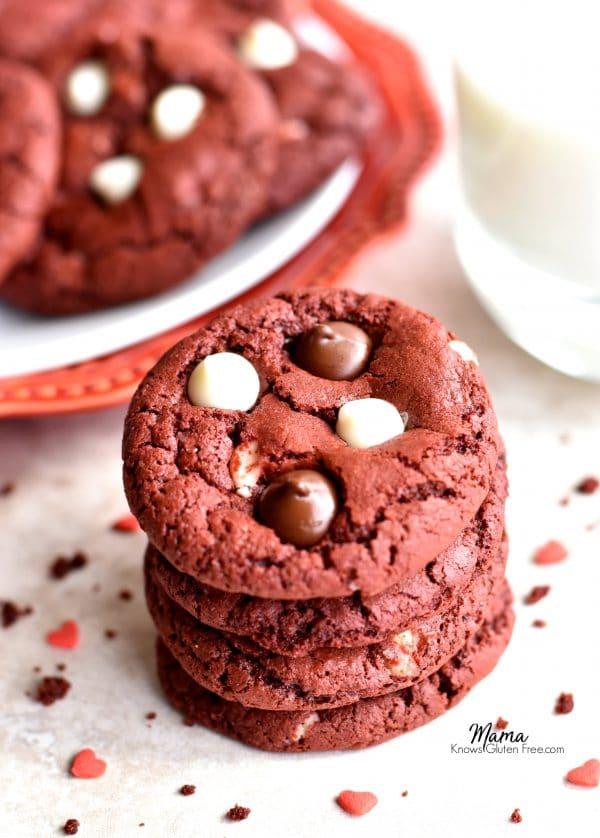 gluten-free red velvet chocolate chip cookies