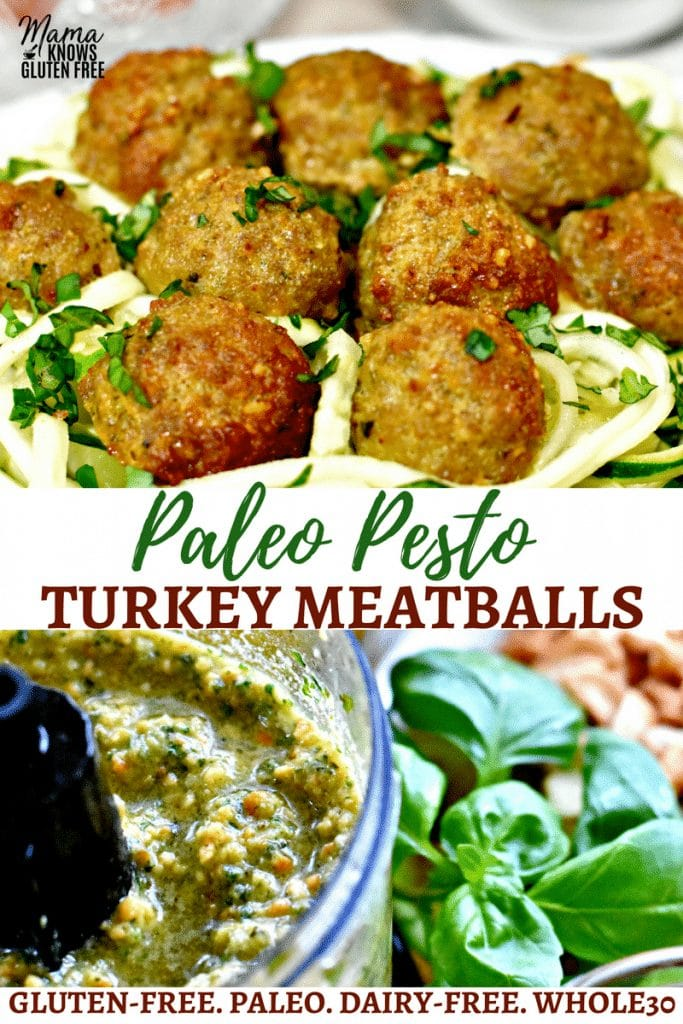 Paleo Pesto Turkey Meatballs Pinterest pin