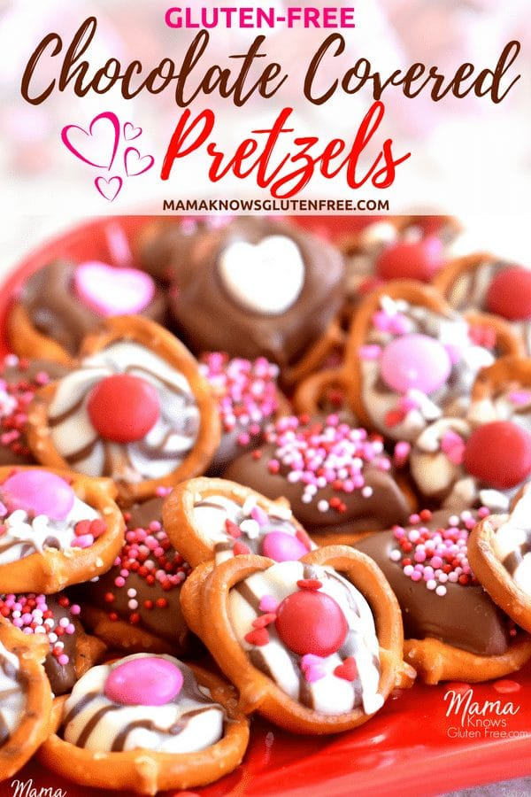 gluten-free chocolate covered pretzels Valentine's Day Pinterest pin