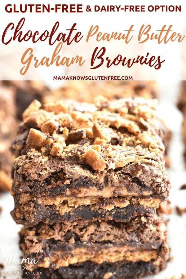 gluten-free chocolate peanut butter brownies Pinterest pin
