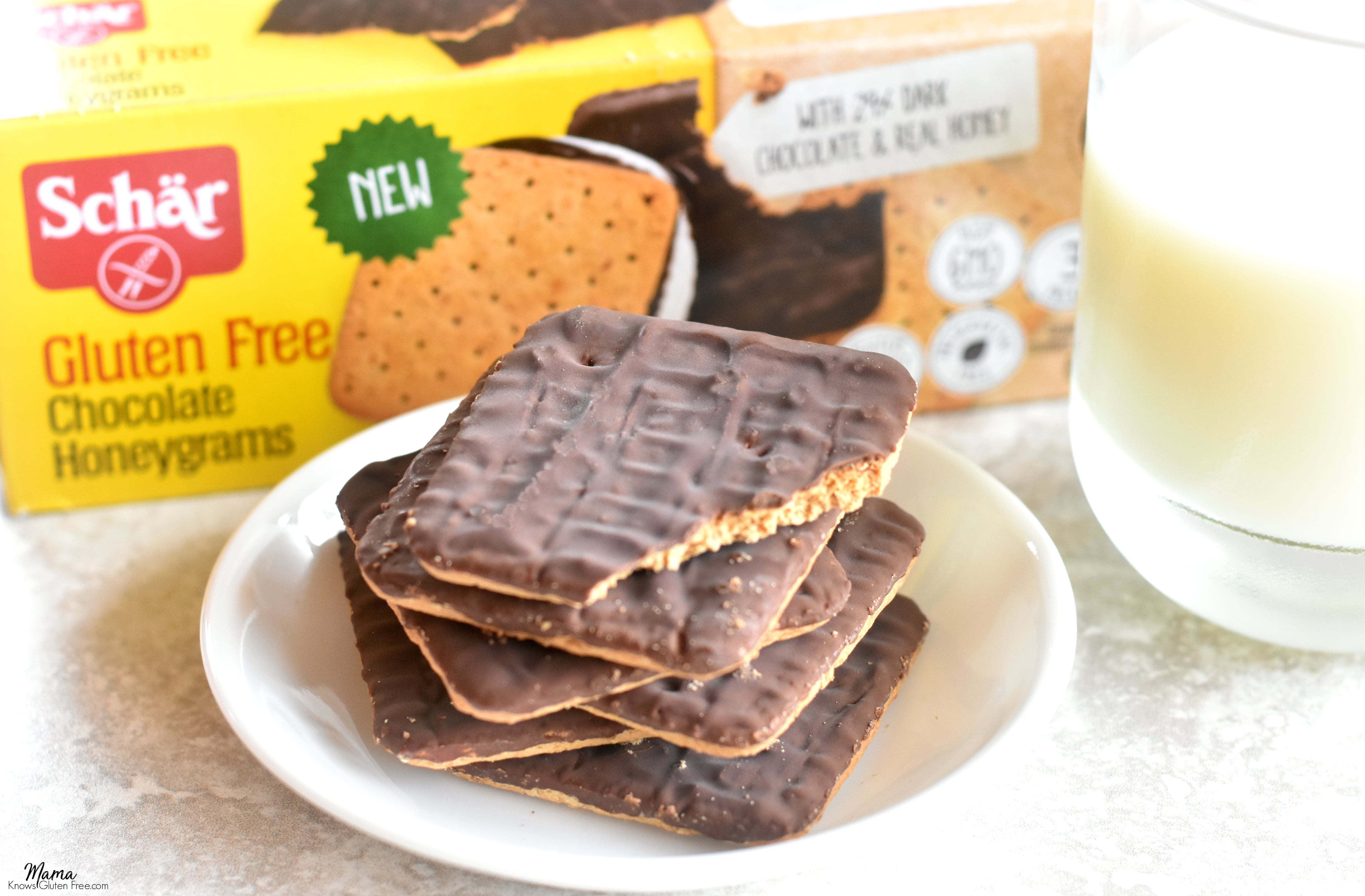 Schar gluten-free Chocolate Honeygrams cookies and milk.
