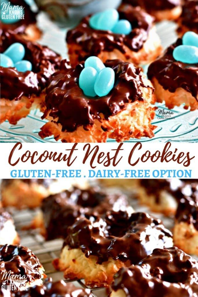 gluten-free coconut nest cookies Pinterest pin 1a