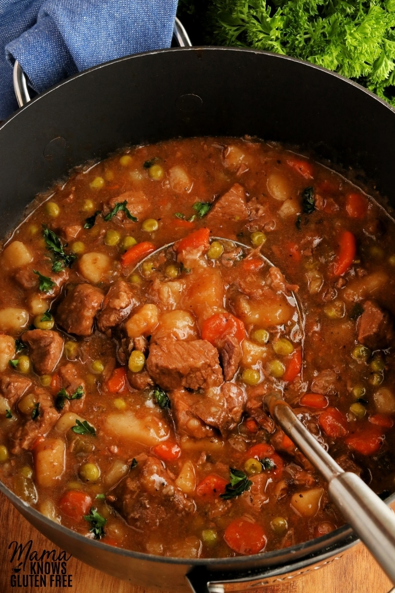 gluten-free beef stew in a back pot with a sliver ladle