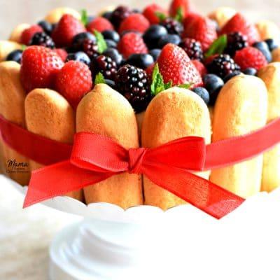Lemon Berry Charlotte Cake {No-Bake, Gluten-Free}