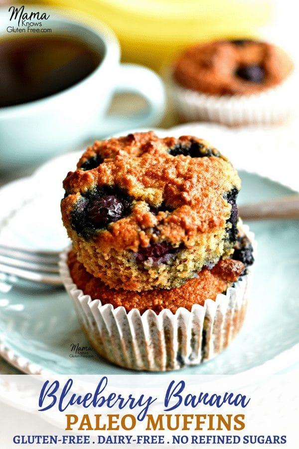 Paleo banana blueberry muffins Pinterest pin
