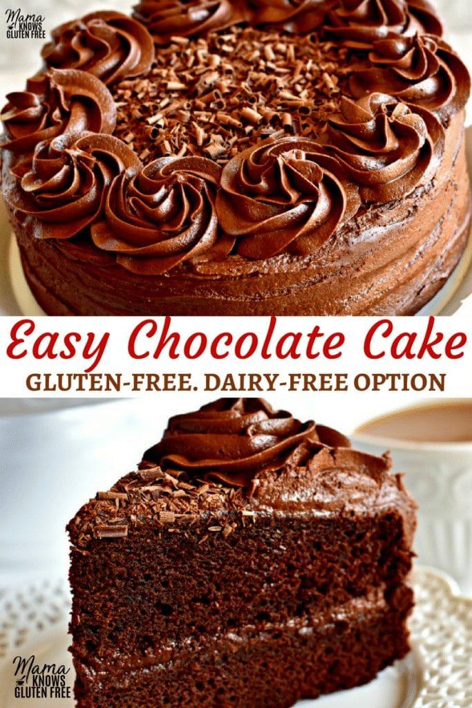 easy gluten-free chocolate cake Pinterest pin 3