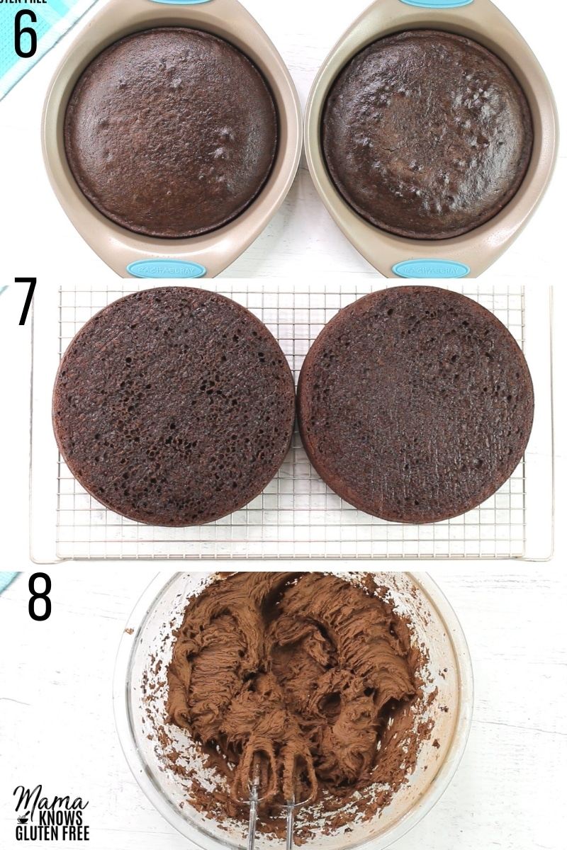 gluten-free chocolate cake recipe steps 6-8