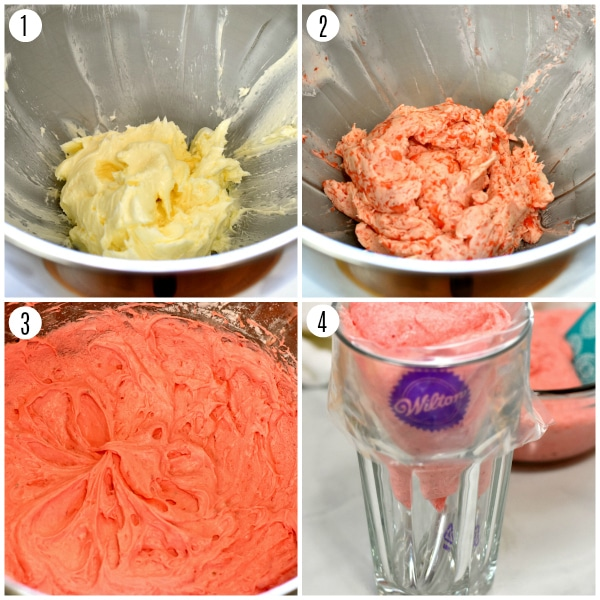 strawberry buttercream recipe steps 1-4