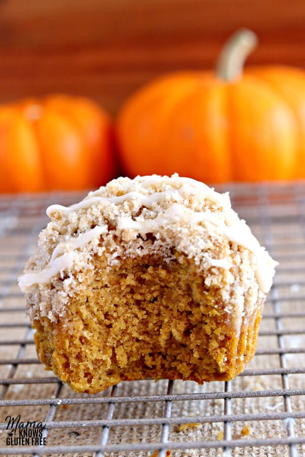 gluten-free pumpkin crumb muffin with bite out of it to show texture on a cooling rack with pumpkins in the background