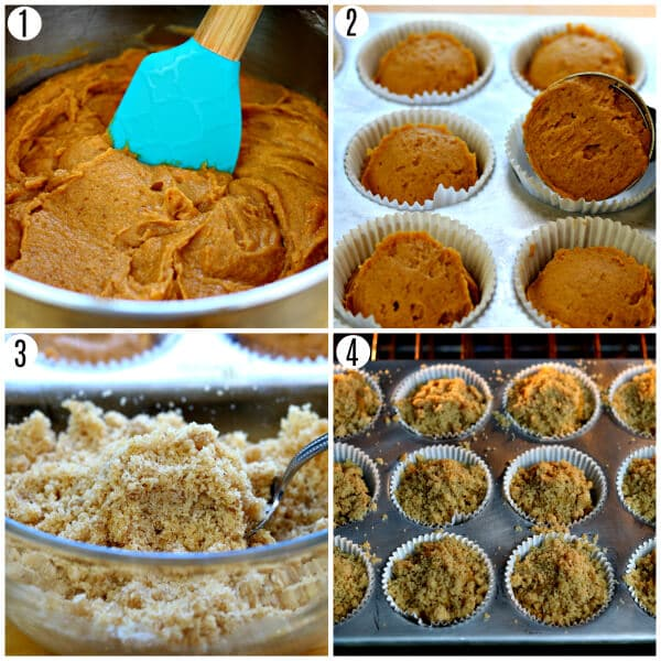pumpkin muffins recipe steps 1-4