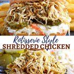 gluten-free rotisserie style shredded chicken Pinterest pin