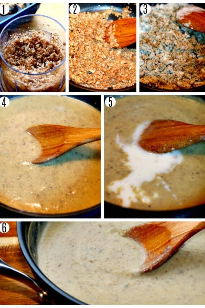 gluten-free cream of mushroom soup photo collage of recipe steps