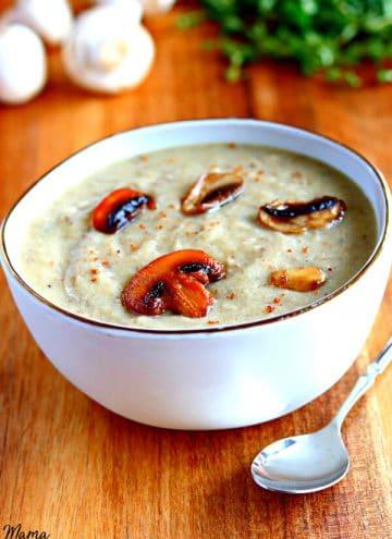Gluten-Free Cream of Mushroom Soup {Dairy-Free & Vegan Option}