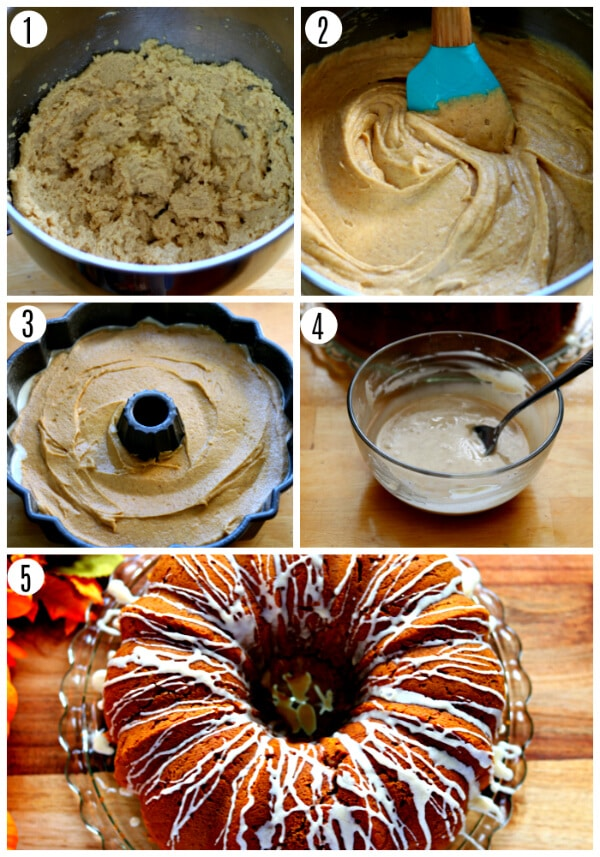 gluten-free pumpkin bundt cake recipe steps 1-5