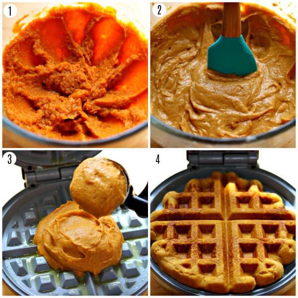 gluten-free pumpkin waffles recipe steps 1-4