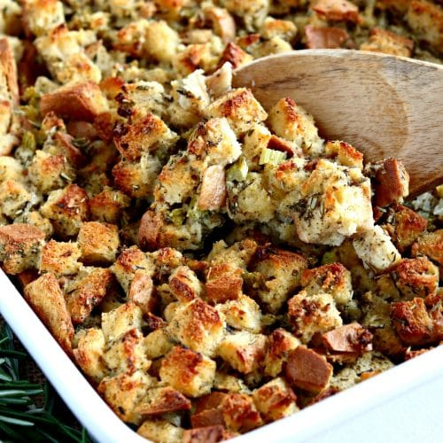 gluten-free stuffing with a wooden spoon