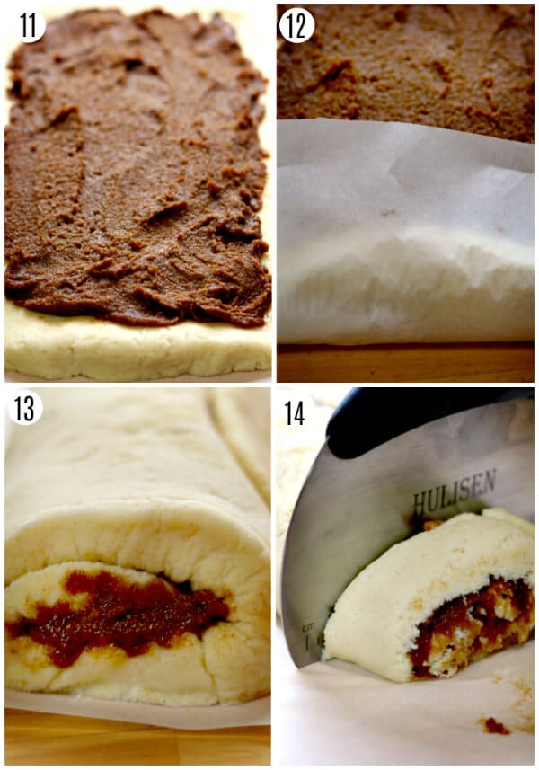 gluten-free-cinnamon roll recipe steps 11-14 photo collage