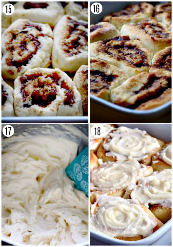 gluten-free-cinnamon roll recipe steps 15-18 photo collage