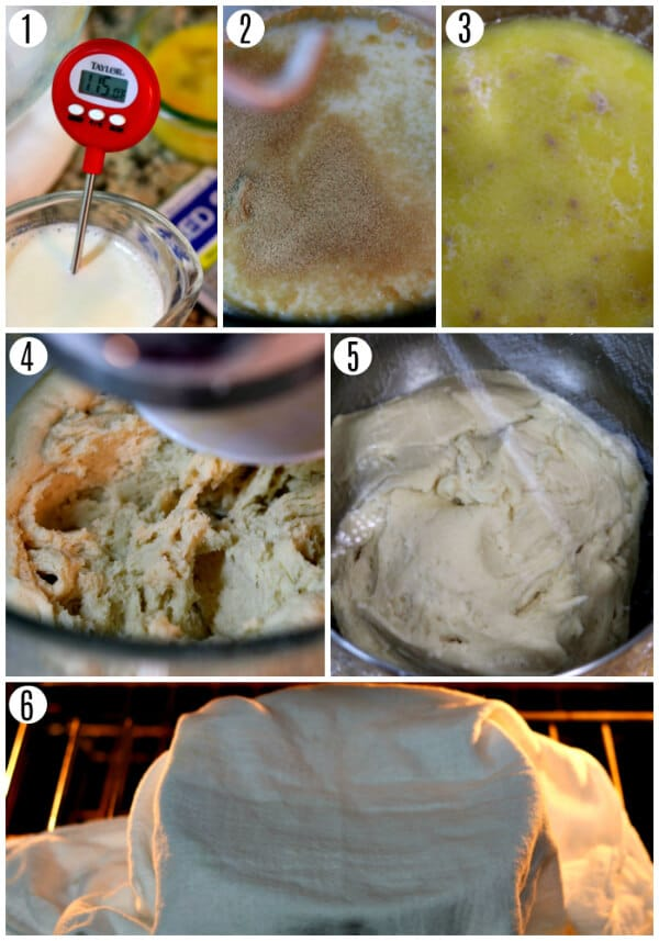 gluten-free cinnamon roll recipe steps 1-6 photo collage