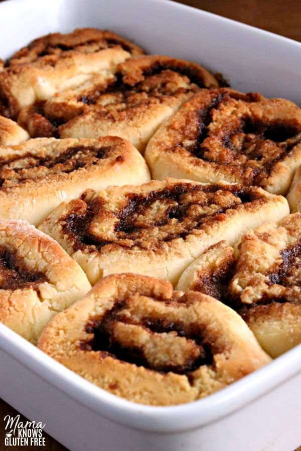 a pan of freshly baked cinnamon rolls without icing