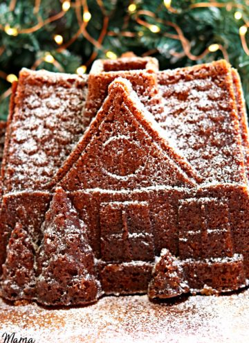 gluten-free gingerbread bundt cake in a shape of a gingerbread house