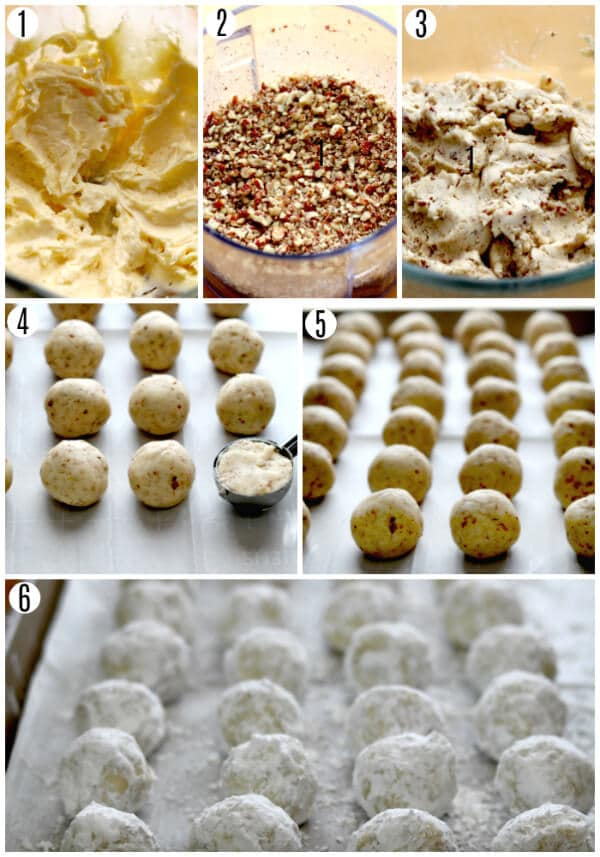 gluten-free snowball cookies recipe steps 1-6