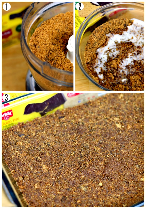 chocolate lasagna recipe steps 1-3 photo collage