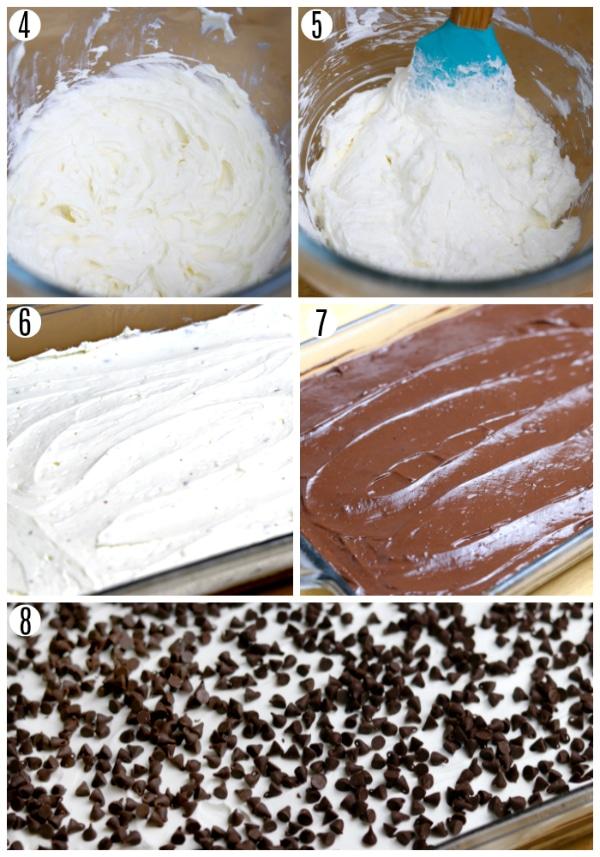 chocolate lasagna recipe steps 4-8 photo collage