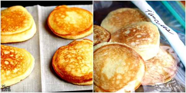 collage of steps for freezing pancakes