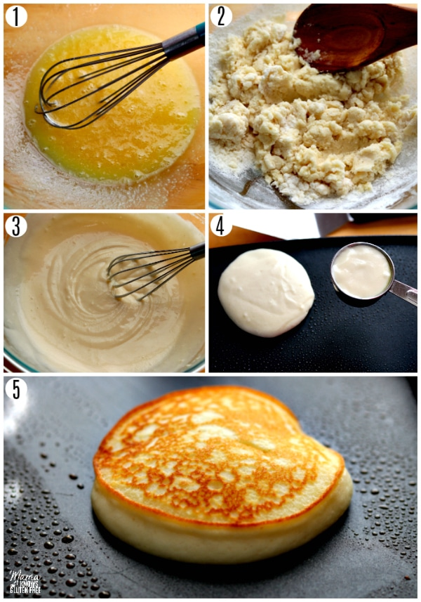 gluten-free pancakes recipe steps 1-5 photo collage